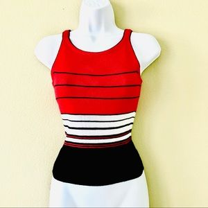 Sultry Multi-Striped Sleeveless Red Sweater_S